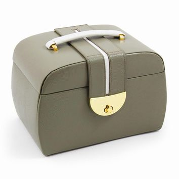 Olive Leather Three Level Jewelry Box - Perfect Gift