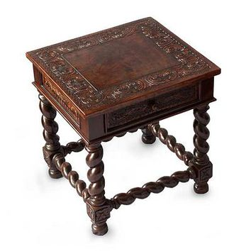 Mohena wood and leather accent table, 'Viceroy'