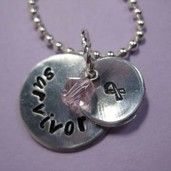 Breast Cancer Survivor Hand Stamped Necklace - Can be customized or personalized