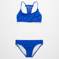 Coral & Reef Macrame Girls Bikini Set Blue  In Sizes