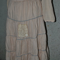 Shabby Tiered Light Tan Skirt with Vintage Lace