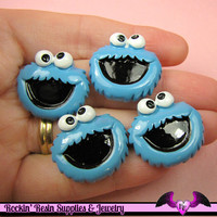 Kids Blue Monster Head Decoden Kawaii Flatback Cabochon 4 pieces