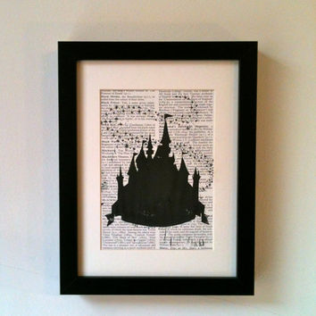Disney Cinderella Fairy Castle, Inspired. This linocut print would look fantastic on your wall or would make a super gift.