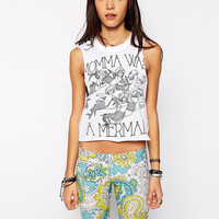 Mermaid Letters Print Sleeveless Graphic Cropped Tank