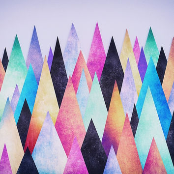 'Colorful Abstract Geometric Triangle Peak Wood's ' by badbugs