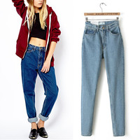 American Apparel /AA High Waist Denim Jeans Street Harem Pants Legging Trousers Retro Celebrity Fashion Women Winter 2 Color