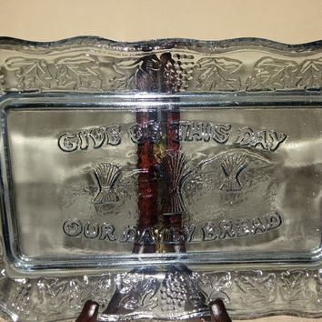 """Blue Depression Glass """"Give us our daily bread tray"""""""
