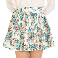 Retro Floral High Waist Full Mini Skirt - Mint