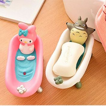 Cute Cartoon Bathroom Kitchen Storage Soap Holder Box