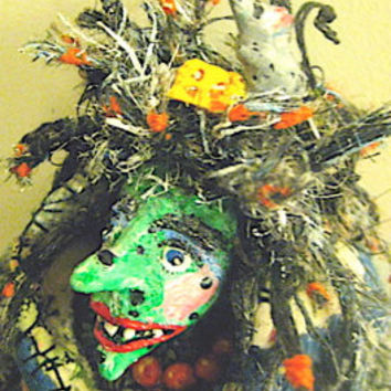 "Witch-OOAK Primitive Folk Art Witch- ""MAJESTY, Munch & Mystery""~ Original Design w/ Handmade Cauldron, Mice. Cheese and Miniature Adornments"