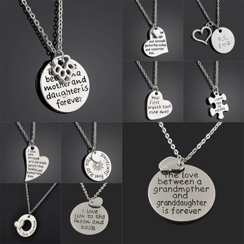 I Love You Grandmother Granddaughter Grandma Mother Daughter Sister Sis Women Dog Paw Family Heart Puzzle Pendant Necklace Gifts