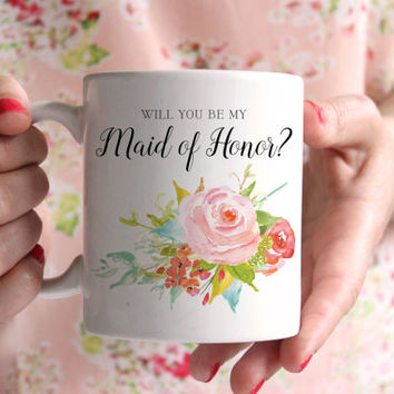 Wedding Party Bridesmaid Mug | Will You Be My, Thank You, Bridesmaid, Maid of Honor Gift | Floral Watercolor 11oz. Ceramic Coffee Mug