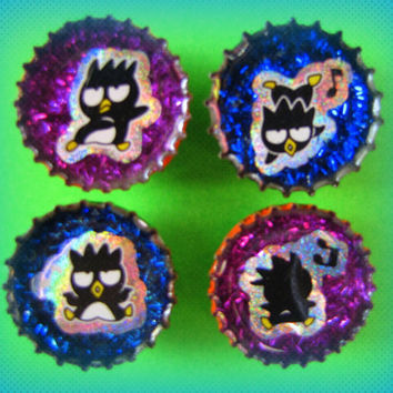 Upcycled Bottle Cap Magnets Resin Badtz Maru Purple Blue Glitter Handmade Recycled Reclaimed Repurposed Eco Friendly Ceramic Magnet