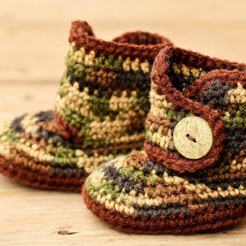 Crochet Baby Booties - Baby Boots - Camo Camouflage Hunting Boots - Green Brown Baby Shoes - Hunting Baby Boy - Country Baby Boot  Baby Girl