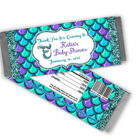 Mermaid Baby Shower Party Favors Candy Bar Wrapper - Girl Mermaid Shower Ideas - Girls Baby Shower Favors - Candy Buffet Under The Sea Decor