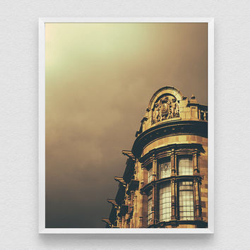 Golden Nottingham, Architecture art, Travel, Golden sky, Nottingham Photography, England, London style, Wall art print, architecture poster