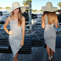 Sexy Irregular Black And White Striped Package Hip Dress