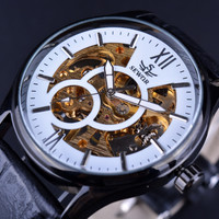 SEWOR Retro Classic Design White Dial Skeleton Saat Orologio Uomo Clock Men Gold Watch Mechanical Leather Watch Men Luxury Brand