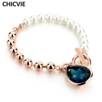 CHICVIE New Gold Color Pearl Beads Strand Bracelets With Blue Stones 2018 Wedding & Engagement Bracelet Femme Jewelry Sbr160114