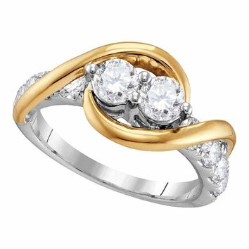 14kt Two-tone Gold Women's Round Diamond 2-stone Bridal Wedding Engagement Ring 1-2 Cttw - FREE Shipping (US/CAN)