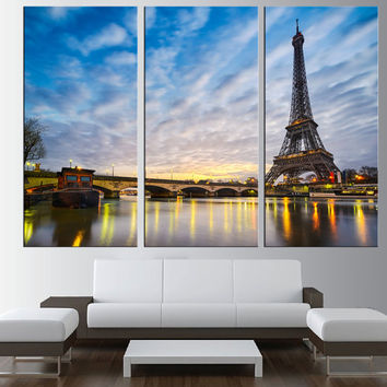 Paris wall art Canvas Print , extra large wall art, citycape art, Paris skyline wall art, eiffel tower wall art, modern wall decor t179
