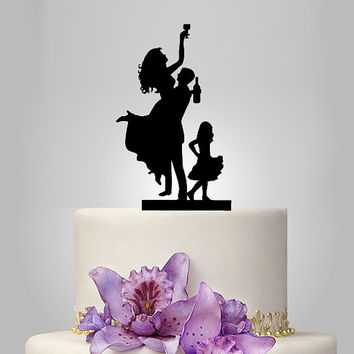 Funny wedding cake topper, family wedding cake topper, little boy cake topper, groom and bride with little girl cake topper,SELECT KIDS