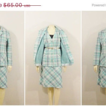 SALE Vintage Suit 60s 70s Blue Plaid 3 Piece Suit Blazer Vest & Skirt Aqua Periwinkle Ivory Modern Size Medium to Large