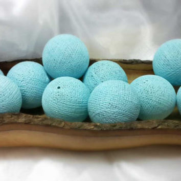 100 Light blue baby cotton ball pom pom garland decorative handmade ball display lantern home decor DIY