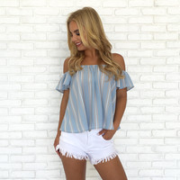 Blue Skies Stripe Off Shoulder Top