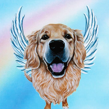Golden Retriever Angel - Golden Retriever Art Print - Dog Angels - Guardian Angels - Pet Memorial - Rainbow Bridge - Weeze Mace - 8x10