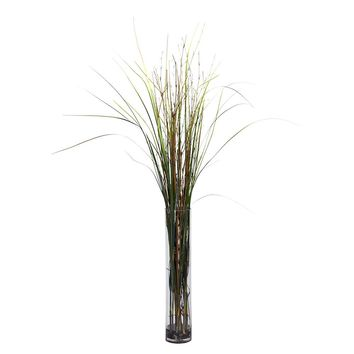 Silk Flowers -Grass And Bamboo With Cylinder Artificial Plant