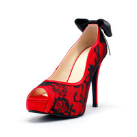 True Love, Red Wedding Heels with Back Bow, Red Wedding Shoes with Black  Lace, Red Wedding Heels, Red Bridal Heels with Black Lace Overlay