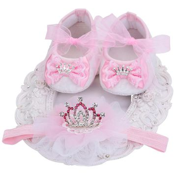 Boutique Baby Moccasins Toddler;Xmas First Walker Brand Baby Shoes Girls Headband Set;