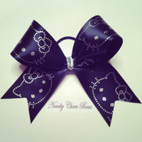 Black Hello Kitty Cheer Bow with Silver accents and Center