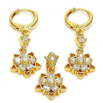 Gold Layered Earring and Pendant Adult Set, Flower and Heart Design, with Cubic Zirconia, Golden Tone
