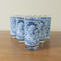 Set of 6 Currier & Ives Glasses with Blue and White Scenery
