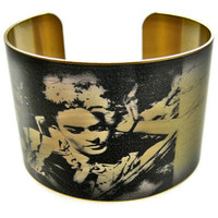 Frida Kahlo cuff bracelet brass adjustable by UniqueArtPendants