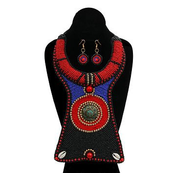 Black, Blue, and Red Bead Raised Collar Long Bib Necklace Set with Cowrie Shell Detail