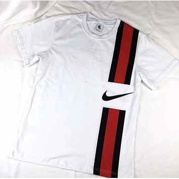 Nike Trending Women Men Loose Black Red Stripe Black Hook Short Sleeve T-Shirt Top White I12889-1