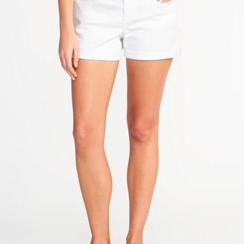 "White Denim Shorts for Women (3 1/2"")