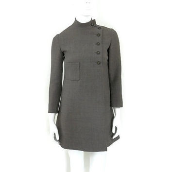 Geoffrey Beene Mod Coat Dress Box Pleat Mandarin Collar