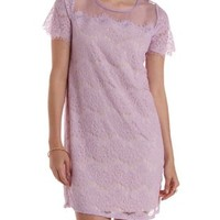 Lavender Organza Yoke Lace Shift Dress by Charlotte Russe