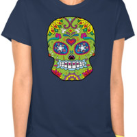 Lady's Green Sugar Skull on Navy T-Shirt
