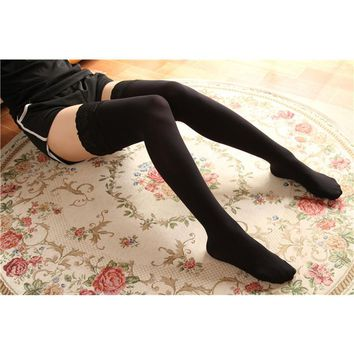 Sexy Women Fashion Ultrathin Lace Top Sheer Thigh High silicone Silk Stockings Long medias sweet lolita stocking A578