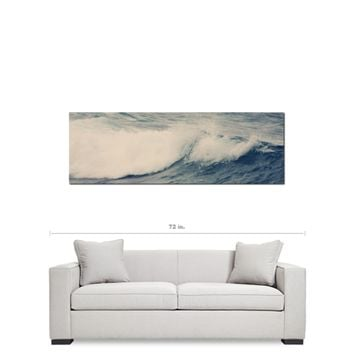 Nautical Canvas - Ocean Wave Canvas - Navy Blue and White - Large Canvas - 20 x 60 Canvas - Panoramic Canvas - Photo Canvas