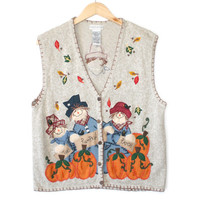 Scarecrow and Pumpkins Ugly Fall / Halloween / Thanksgiving Vest