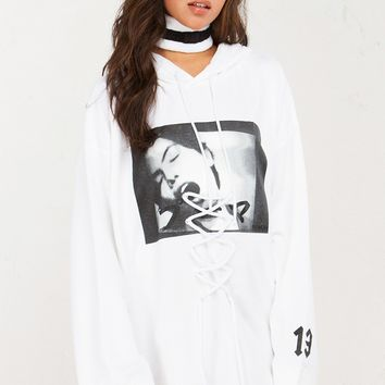 Puma x Fenty Graphic Over Sized Long Sleeve Hooded Sweatshirt With Lace-Up Detail at Front in White