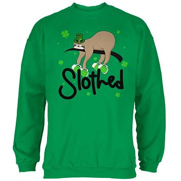 St. Patrick's Day Slothed Sloth Sloshed Drinking Mens Sweatshirt