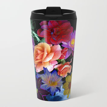Colorful Fractal Flowers Metal Travel Mug by Smyrna