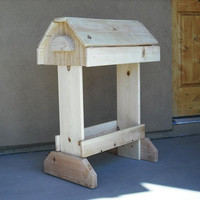 Rustic Pine Saddle Stand with Bridle Rack and Tack Tray - Unfinished and Stainable Wood